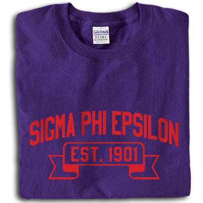 Sigma Phi Epsilon Football Printed T-Shirt - Gildan 5000 - CAD