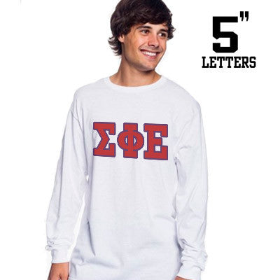 Fraternity Printed Long-Sleeve Tee with 5-Inch Letters - Gildan 8400 - SUB