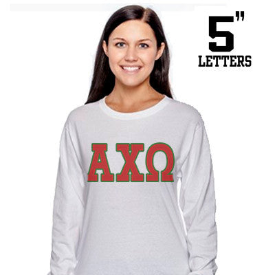 Sorority Printed Long-Sleeve Tee with 5-Inch Letters - Gildan 8400 - SUB