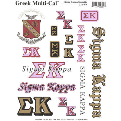 Sigma Kappa Multi-Cal Stickers