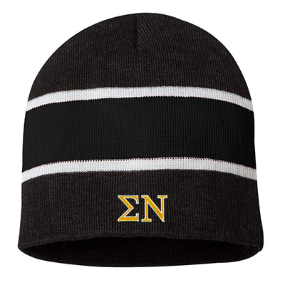 Fraternity Embroidered Striped Knit Beanie - SP06 - EMB
