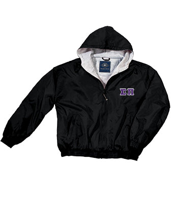 Sigma Pi Greek Fleece Lined Full Zip Jacket w/ Hood - Charles River 9921 - TWILL