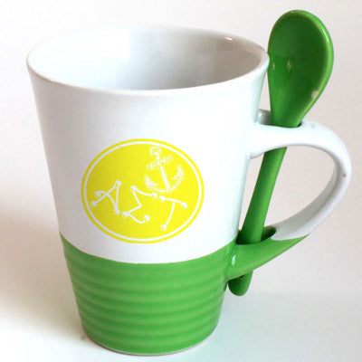 Alpha Sigma Tau Sorority Coffee Mug with Spoon - 6150