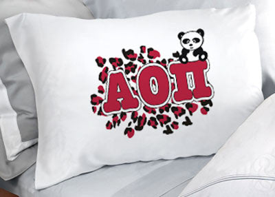 Alpha Omicron Pi Cheetah Print Pillowcase - SGPC