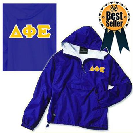 Any color ANY letters Charles River Greek rain jacket Pull over half zip with embroidered Greek letters and sorority name