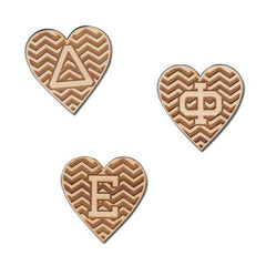Sorority Engraved Chevron Heart Letters - LZR