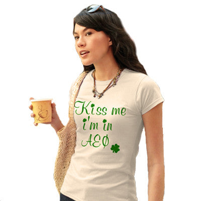 Kiss Me - St. Paddys Day Printed Sorority Tee - Gildan 6400L - CAD