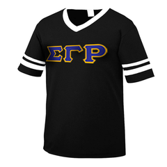 Sigma Gamma Rho Striped Tee with Twill Letters - Augusta 360 - TWILL