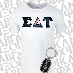 Sorority Bid Day Special - Sorority Panoramic Pattern Printed Tee and Metal Keychain Package - Jerzees 21MR - SUB - GFT090 - LZR