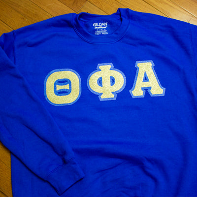 Sorority Letter Crewneck Sweatshirt with Glitter Options - G120 - Twill