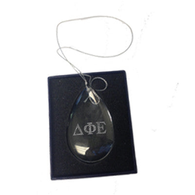 Greek Engraved Teardrop Glass Christmas Ornament - CRY1418 - LZR