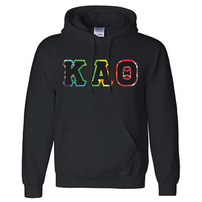 Greek Fraternity or Sorority Tie-dye Bordered Hooded Sweatshirt - Gildan 18500 - TWILL
