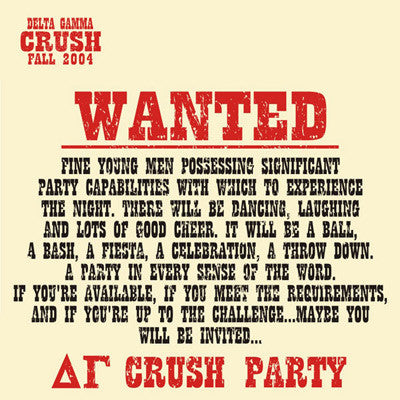 Wanted Poster Crush Party Shirt