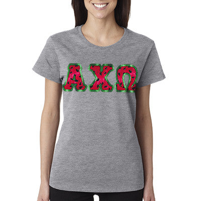 Sorority Watermelon Letters T-Shirt - Gildan 5000 - TWILL