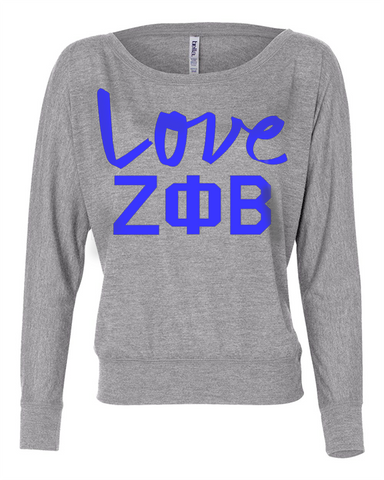 Zeta Phi Beta Flowy Off-The-Shoulder Love Shirt - Bella 8850 - CAD