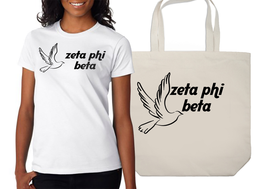 Zeta Phi Beta Mascot Printed Tee and Tote - CAD