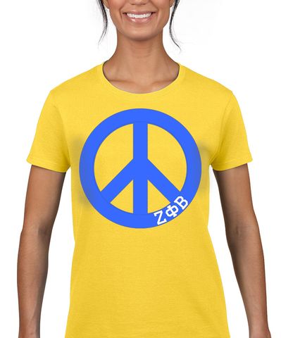 Zeta Phi Beta Neon Peace Sign Printed Tee - Gildan 500 - CAD