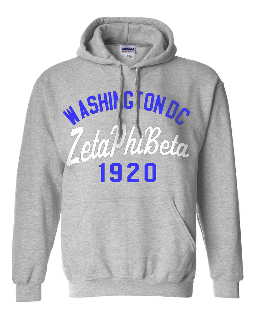 Zeta Phi Beta State and Date Printed Hoody - Gildan 18500 - CAD
