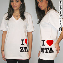 I Love Zeta Tau Alpha Printed V-Neck Tee - American Apparel 2456 - CAD
