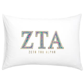 Zeta Tau Alpha Floral Cotton Pillowcase - Alexandra Co. a3016