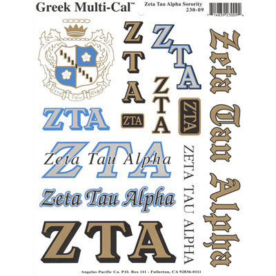 Zeta Tau Alpha Multi-Cal Stickers