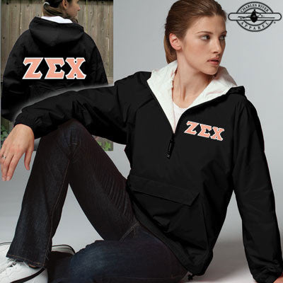 Zeta Sigma Chi Sorority Pullover Jacket - Charles River 9905 - TWILL