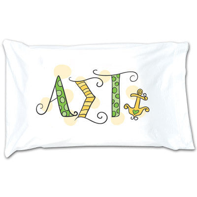Alpha Sigma Tau Dot Pillowcase - Alexandra Co. a1032