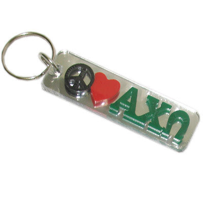 Alpha Chi Omega Peace Love Keychain - Craftique cqPLKC