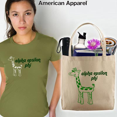 Alpha Epsilon Phi Mascot Printed Tee and Tote - CAD