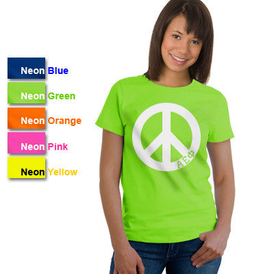 Alpha Epsilon Phi Neon Peace Sign Printed Tee - Gildan 61 - CAD