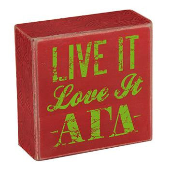 Alpha Gamma Delta Wooden Plaque - Live It, Love It - a1007