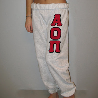 Alpha Omicron Pi Sorority Sweatpants - Jerzees 973 - TWILL