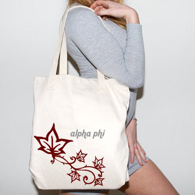Alpha phi mascot printed tote 825 cad something greek for Lil flip jewelry collection