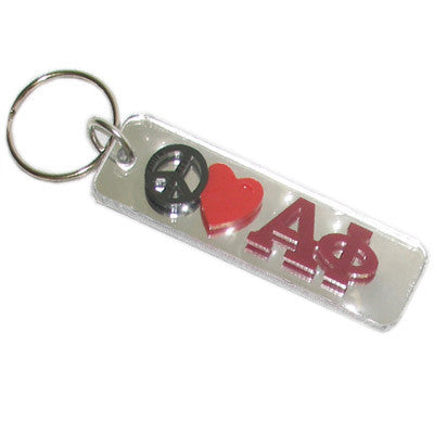 Alpha Phi Peace Love Keychain - Craftique cqPLKC