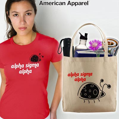 Alpha Sigma Alpha Mascot Printed Tee and Tote - CAD