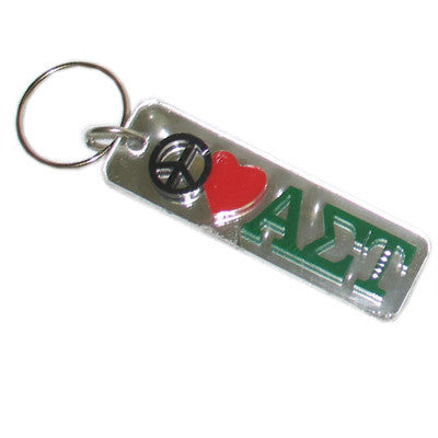 Alpha Sigma Tau Peace Love Keychain - Craftique cqPLKC