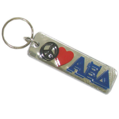 Alpha Xi Delta Peace Love Keychain - Craftique cqPLKC