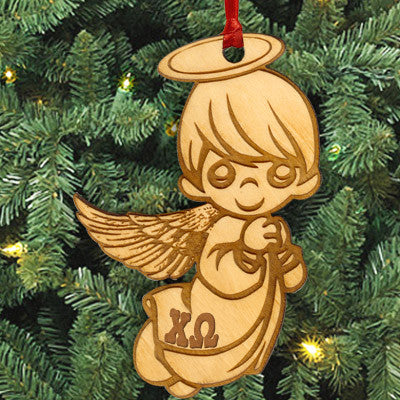 Chi Omega Angel Ornament - LZR