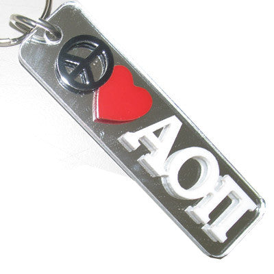 Alpha Omicron Pi Peace Love Keychain - Craftique cqPLKC