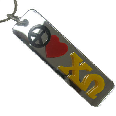 Chi Omega Peace Love Keychain - Craftique cqPLKC