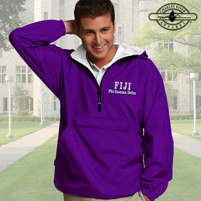 FIJI Embroidered Bar Design Pullover Jacket - Charles River 9905 - EMB