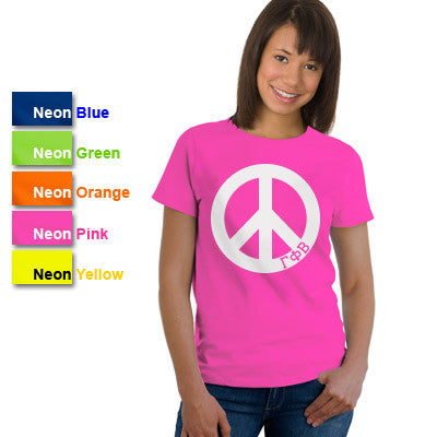 Gamma Phi Beta Neon Peace Sign Printed Tee - Gildan 61 - CAD