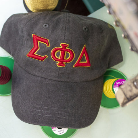 3D Embroidered Fraternity Adjustable Hat - Port and Company CP80 - EMB