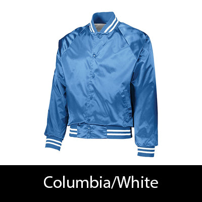 Fraternity Striped Trim Satin Baseball Jacket - Augusta 3610