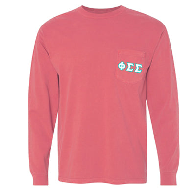 Comfort Colors Custom Printed Sorority Long-Sleeve T-Shirt with Pocket - 4410 - DIG