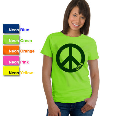 Omega Phi Beta Neon Peace Sign Printed Tee - Gildan 500 - CAD
