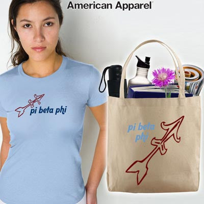 Pi Beta Phi Mascot Printed Tee and Tote - CAD