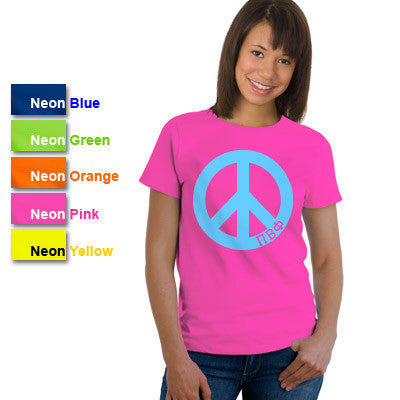 Pi Beta Phi Neon Peace Sign Printed Tee - Gildan 61 - CAD