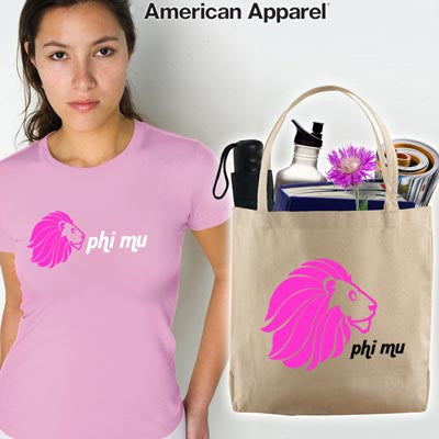 Phi Mu Mascot Printed Tee and Tote - CAD