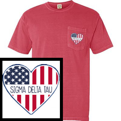 Greek T-Shirt with Patriotic Heart Pocket - Comfort Colors 6030 - DIG